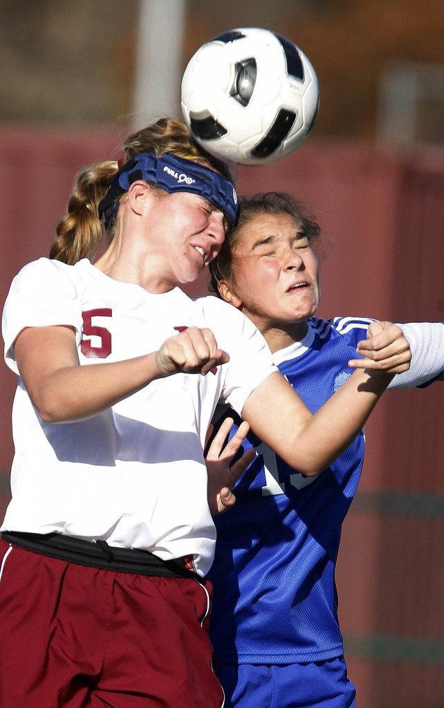 Siobhan McCulloch of Madison and Gabby Roselle of Caldwell go after the ball during the Caldwell at Madison girls high school soccer NJSIAA North Jersey, Section 2, Group 2 sectional semifinal won by Madison 2-1