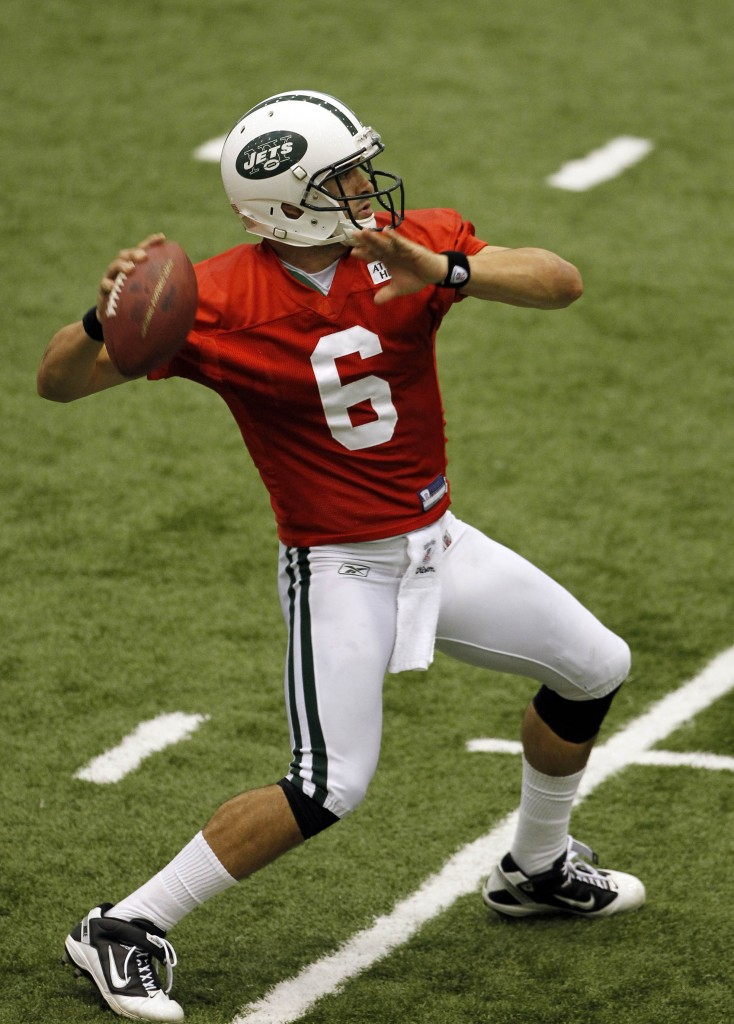 Jets quarterback Mark Sanchez during the New York Jets football practice